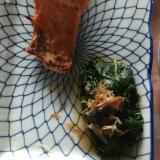 つるむらさき、鰹節、塩紅鮭のプレート