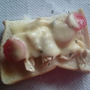 ささみとトマトのチーズトースト