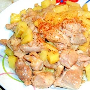 鶏ももとポテトの甘味噌炒め!レンジで時短&簡単に!