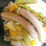白菜の漬物スナップエンドウ菜の花ソーセージゆず蒸し