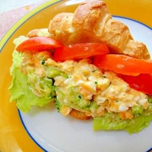 クロワッサンのブロッコリー卵サンド