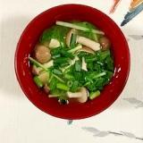水菜、塩とうふ、ブナシメジ、万能葱のお味噌汁