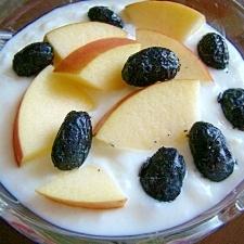 ほくほくしゃきしゃき♪甘納豆と林檎のヨーグルト