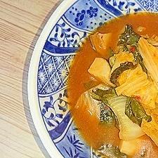 キムチ鍋の素でほうれん草・エリンギ・白菜のピリ辛煮