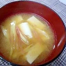 みょうが&豆腐のお味噌汁♪