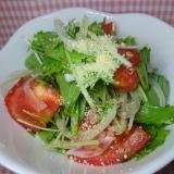 市販のイタリアンドレッシングで水菜とトマトサラダ
