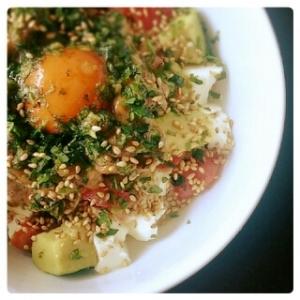 アボカド&納豆&トマト お豆腐丼♪