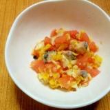 【離乳食】さんまとトマトのコーンサラダ