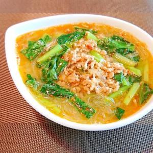 小松菜のひき肉の 味噌ごま春雨ヌードル