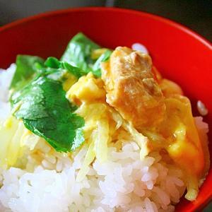 鮭缶と玉葱の卵とじ*酢醬油がけ