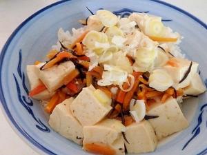 ひじきの煮物の残りで★ひじきと豆腐の丼
