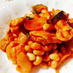 鶏肉とお豆のトマトジュース煮込み❤︎