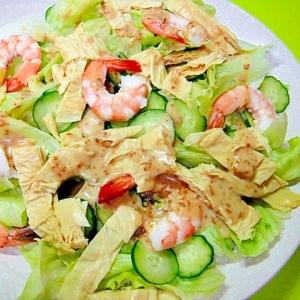 生湯葉と海老レタスの辛子胡麻風味サラダ