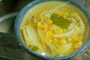 レンズ豆と白菜の塩スープ