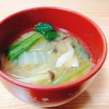 小松菜と白菜としめじの味噌汁