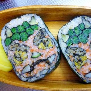 玄米菜食☆節分弁当 赤鬼 飾り海苔巻(飾り巻寿司)