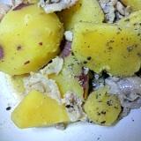 サツマイモと豚肉の炒め煮^^