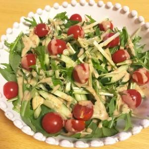 水菜とキュウリの簡単サラダ
