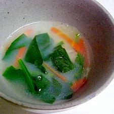 ほうれん草とにんじんの中華ミルクスープ