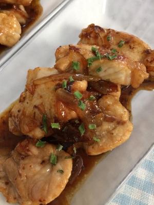 豚カツ肉のテリヤキソース炒め