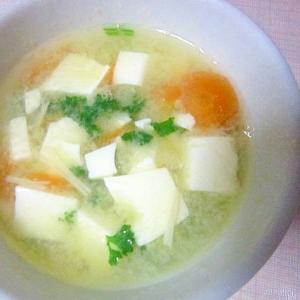 パセリとえのきの味噌汁