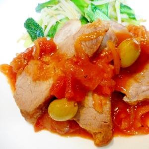 豚肉とオリーブのトマト煮