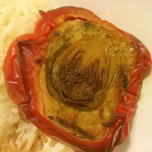 簡単★芽キャベツ詰め肉詰めパプリカ