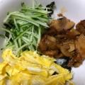 鶏照り焼きの三色丼