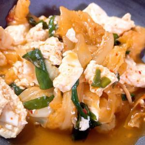 ★ホットクックレシピ★キャベツとニラのキムチ豆腐