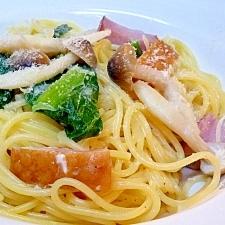 小松菜とベーコンとしめじのクリームソーススパゲティ