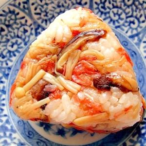 すき焼きのタレで☆椎茸とえのき桜海老のおにぎり