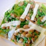 ねぎ納豆とモッツァレラチーズのトースト♪
