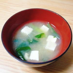 豆腐と小松菜と春雨の味噌汁