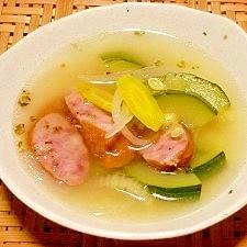 ズッキーニとソーセージのスープ