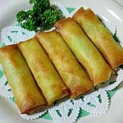 長葱とチーズの春巻