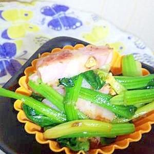 お弁当に☆ベーコンとほうれん草のバタマス炒め