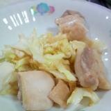 鶏モモ肉キャベツチキンスープの素ツナ油炒め煮