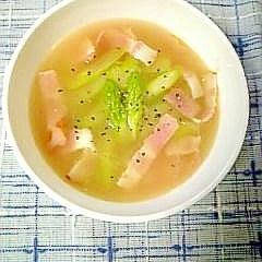 アスパラとベーコンのスープ