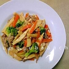 レンジ作る☆豚肉と筍のカレー炒め