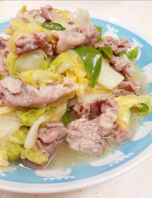 子供が喜ぶ(^^)豚肉+白菜+ピーマンの塩麹炒め♪