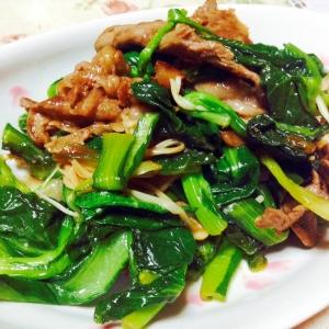 牛肉と小松菜とえのきのオイスターソース炒め