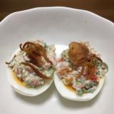 半熟卵のカニごまサラダ