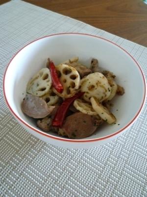 イタリアおつまみ 砂肝と蓮根のハーブ炒め