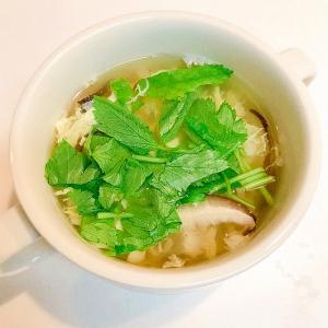 セリが香る☆えのきと椎茸の中華卵スープ