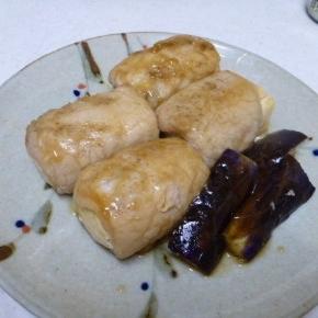 めんつゆで豆腐の肉巻き
