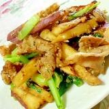 味噌仕立て❤薩摩芋と小松菜と豚肉の炒め物❤