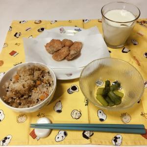 給食風!炊き込みご飯、鮭のから揚げ