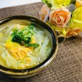 直ぐ出来る!キャベツと水菜の卵スープ