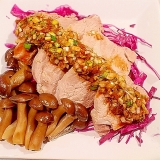 蒸し豚ヒレ肉とネギたっぷり香味ダレ