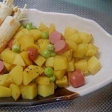 えんどう豆と新じゃがとソーセージの春ソテー